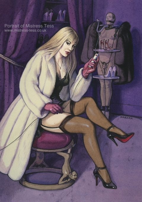 Mistress Tess here exercises her control over her fur coat stand (the  commissioner of the portrait) by means of an electric device which  communicates with ...